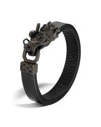 John Hardy | Men's Naga Silver Dragon Head Bracelet With Black Finish On Black Leather Strap for Men | Lyst