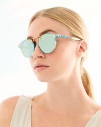 Krewe Green Women's Stl Ii Nylon 24k Mirrored Round Sunglasses