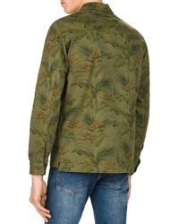 The Kooples Green Japanese Flowers Regular Fit Denim Button-down Shirt for men