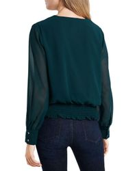 1.STATE Green Smocked - Waist Blouse