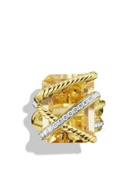 David Yurman - Yellow Cable Wrap Ring With Champagne Citrine & Diamonds In Gold - Lyst