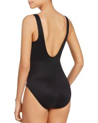 Miraclesuit Black Metallic Mosaic-print Tummy Control One-piece Swimsuit