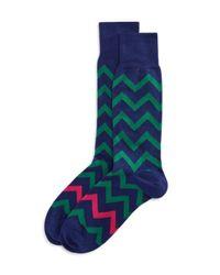 Paul Smith - Green Bright Zig Zag Socks for Men - Lyst