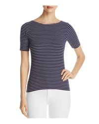 Lilla P | Blue Striped Ribbed Tee | Lyst