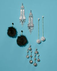 Kate Spade Black Faux-fur Pouf Drop Earrings