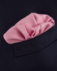 Turnbull & Asser - Pink Basic Solid Pocket Square With Border for Men - Lyst