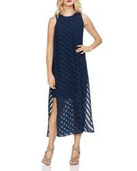 Vince Camuto Blue Sleeveless Chiffon-stripe Dress