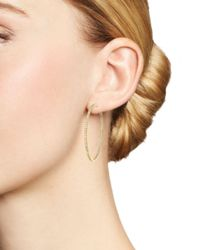 Roberto Coin - Metallic 18k Yellow Gold Micropave Inside-out Diamond Hoop Earrings - Lyst
