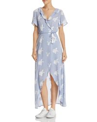 LOST AND WANDER Blue Iris Embroidered High/low Wrap Dress