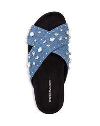 Rebecca Minkoff - Blue Theo Jeweled Denim Pool Slide Sandals - Lyst