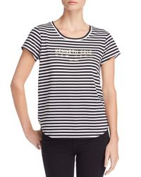 Kenneth Cole Black Kam Striped Logo-graphic Tee