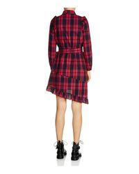 Maje - Red Randra Plaid Asymmetric-hem Dress - Lyst