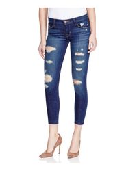 J Brand Blue Low-rise Cropped Skinny Jeans In Demented