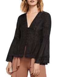 BCBGMAXAZRIA Black Joice Floral Embroidered Top