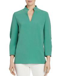 Lafayette 148 New York Green Loretta Ruched - Sleeve Blouse