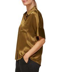 Whistles Green Silk Short Sleeve Blouse