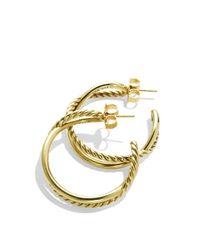 David Yurman - Yellow Crossover Hoop Earrings In Gold - Lyst
