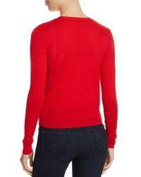 Tory Burch - Red Simone Shrunken Wool Cardigan - Lyst