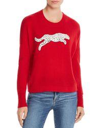 Aqua Red Cashmere Snow Leopard - Appliqué Cashmere Sweater