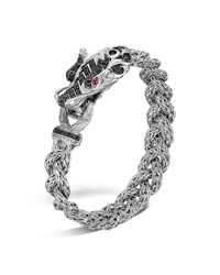 John Hardy | Metallic Sterling Silver Naga Small Braided Chain Dragon Head Bracelet With Black Sapphire And Ruby Eyes | Lyst