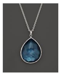 Ippolita | Blue Sterling Silver Wonderland Large Teardrop Pendant Necklace In Indigo, 16"