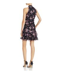 Parker - Black Luana Floral-embroidered Tiered-hem Dress - Lyst