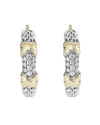 Lagos | Metallic 18k Gold And Sterling Silver Diamond Hoop Earrings | Lyst