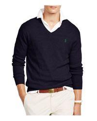 Polo Ralph Lauren - Blue Pima V-neck Sweater for Men - Lyst