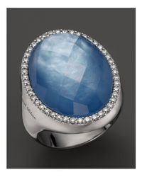 Roberto Coin White Lapis And Mother-of-pearl Triplet Cocktail Ring With Diamonds