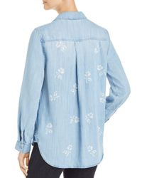 Side Stitch - Blue Floral Print Chambray Shirt - Lyst