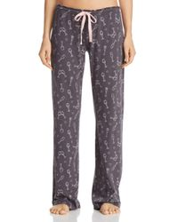 Pj Salvage - Gray Wine Printed Pants - Lyst