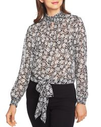 1.STATE Multicolor Wild Blooms Smocked Tie Front Top