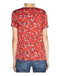 Maje Red Lecina Floral-print Crepe Top