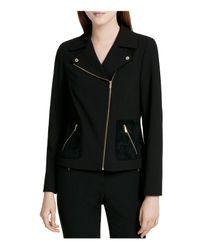 Calvin Klein | Black Mixed Media Moto Jacket | Lyst