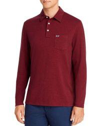 Vineyard Vines Red Edgartown Long - Sleeve Polo Shirt for men