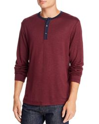 Theory Red Anemone Long - Sleeve Contrast - Trimmed Henley for men