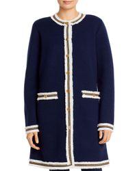 Tory Burch Blue Kendra Fringed Sweater Coat
