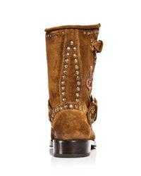 Frye - Brown Women's Nat Flower Embellished Suede Engineer Boots - Lyst