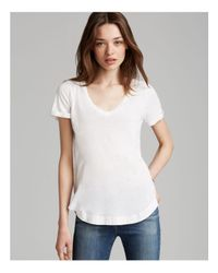 Splendid - White Tee - Rolled Sleeve Circle Hem - Lyst