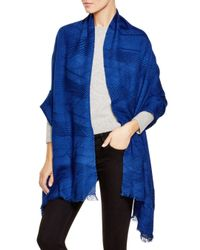 Echo Blue Pleated Wrap Scarf