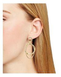 Aqua | Metallic Nellie Double Hoop Drop Earrings | Lyst