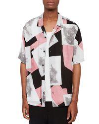 AllSaints Black Livingston Contemporary Fit Short - Sleeve Shirt for men