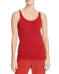 2de62ee738 Lyst - Eileen Fisher Scoop Neck Silk Cami in Red