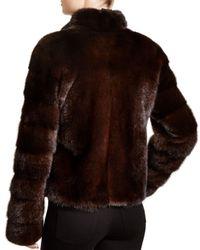 Maximilian Brown Maximilian Stand Collar Mink Coat
