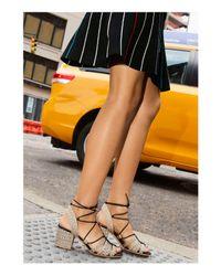 Pour La Victoire Multicolor Amada Raffia Lace Up Block Heel Sandals