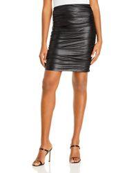 Aqua Black Ruched Faux Leather Skirt