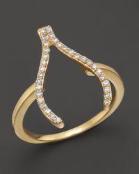 Khai Khai   Diamond Wishbone Ring In 18k Yellow Gold, .2 Ct. T.w.   Lyst