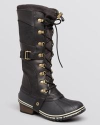 Sorel Black Conquest Carly Lace Up Cold Weather Boots