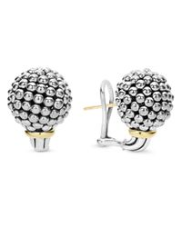 Lagos Metallic Sterling Silver Large Caviar Bead Stud Earrings With 18k Gold