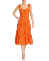 Parker Orange Genevieve Eyelet Embroidered Dress